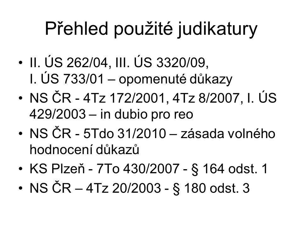 Přehled použité judikatury