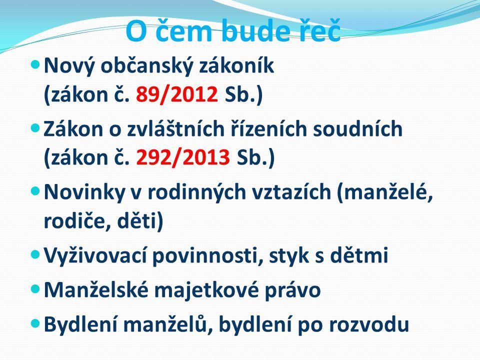 O čem bude řeč Nový občanský zákoník (zákon č. 89/2012 Sb.)