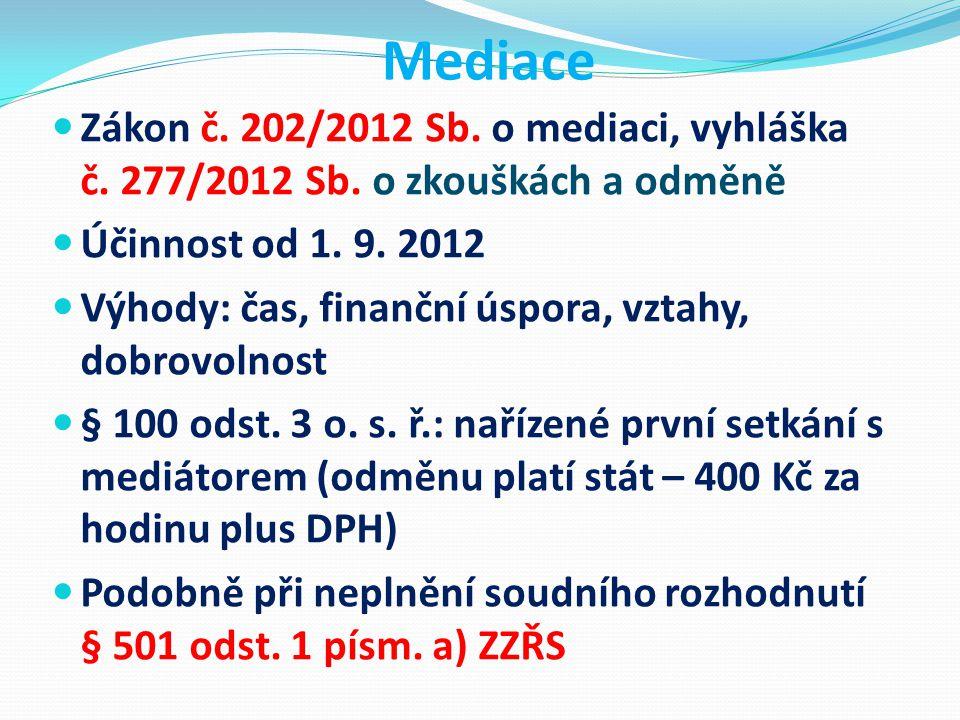 Mediace Zákon č. 202/2012 Sb. o mediaci, vyhláška č. 277/2012 Sb. o zkouškách a odměně. Účinnost od 1. 9. 2012.