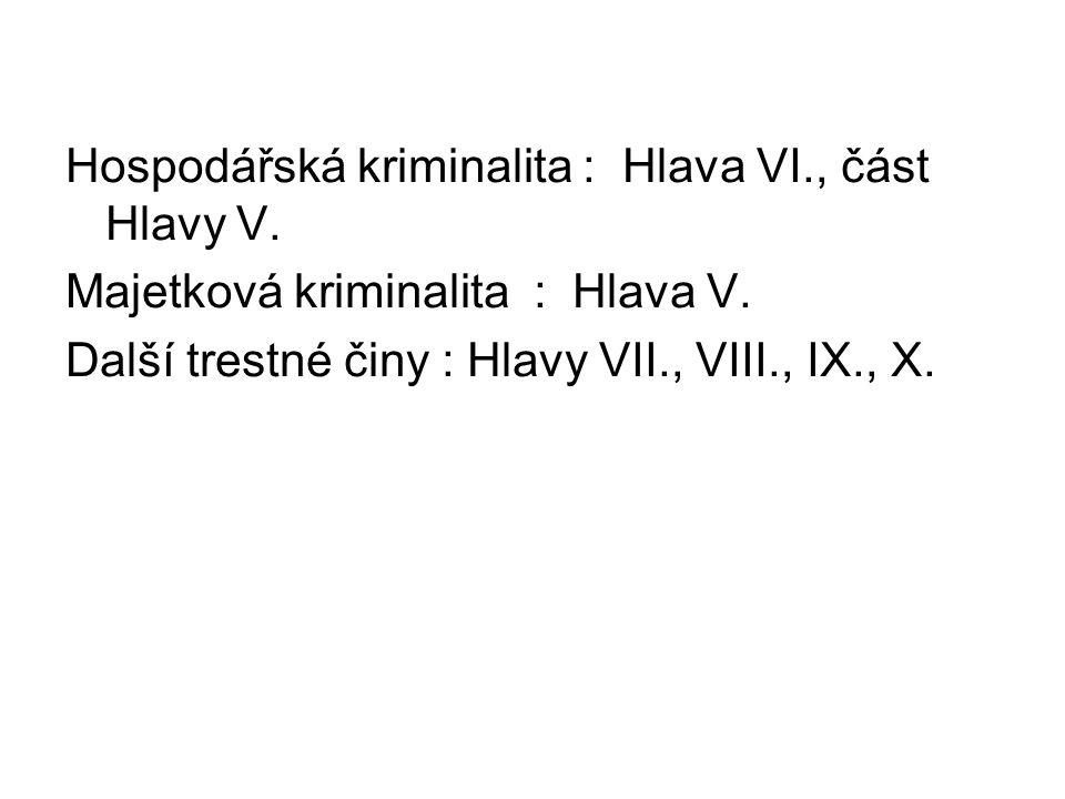 Hospodářská kriminalita : Hlava VI., část Hlavy V.