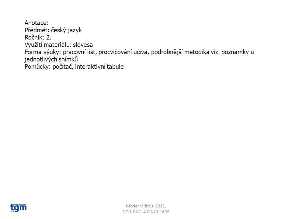 Využití materiálu: slovesa