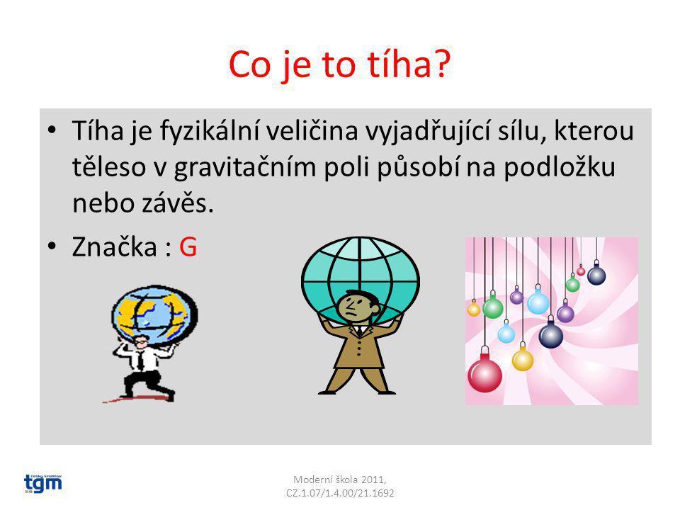 Co je to tíha Tíha je fyzikální veličina vyjadřující sílu, kterou těleso v gravitačním poli působí na podložku nebo závěs.