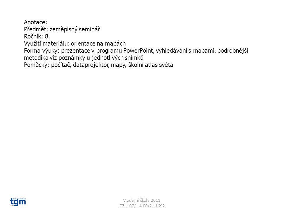 Předmět: zeměpisný seminář Ročník: 8.