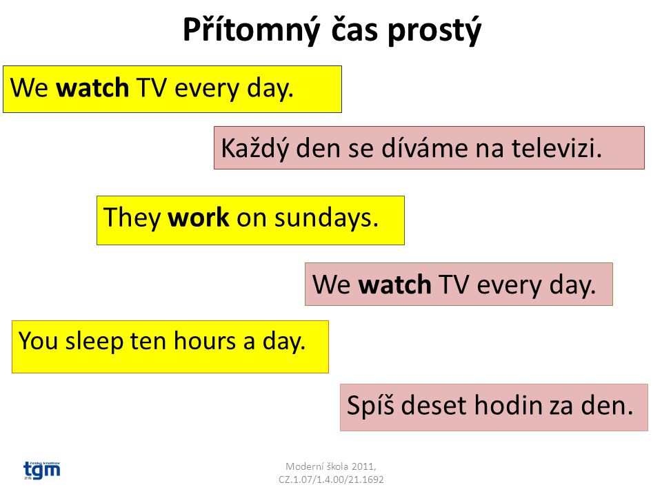 Přítomný čas prostý We watch TV every day.
