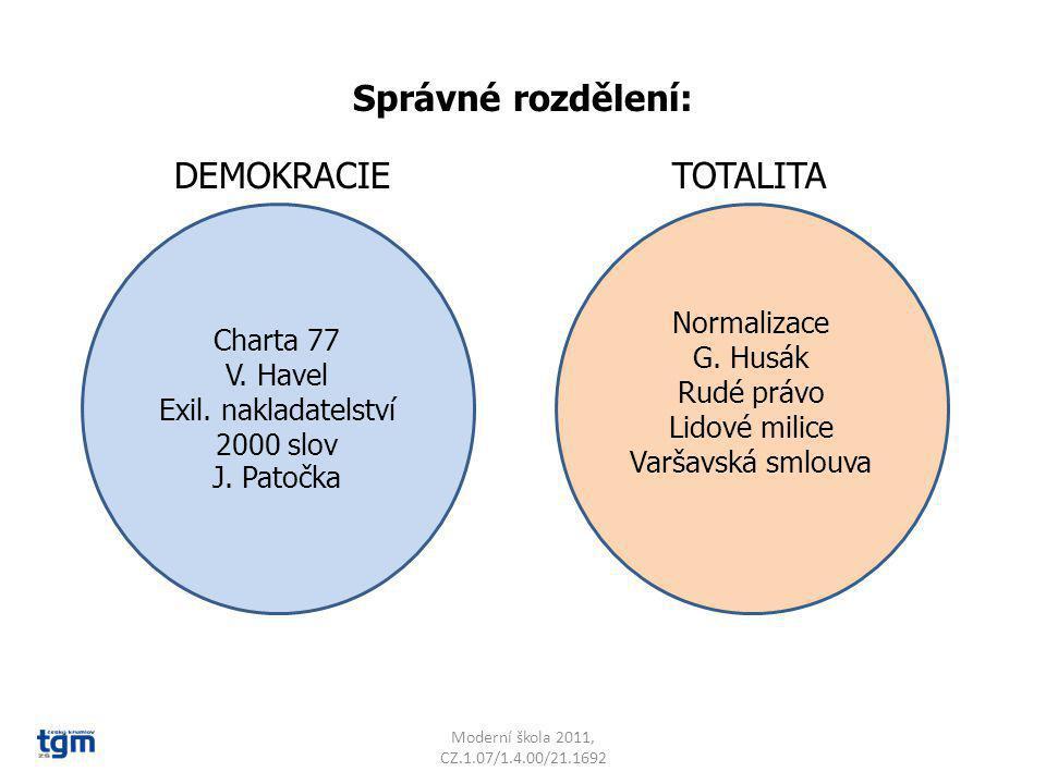 Správné rozdělení: DEMOKRACIE TOTALITA Normalizace Charta 77 G. Husák