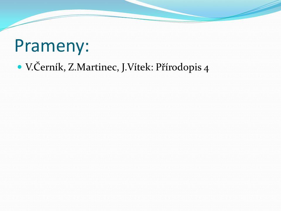 Prameny: V.Černík, Z.Martinec, J.Vítek: Přírodopis 4