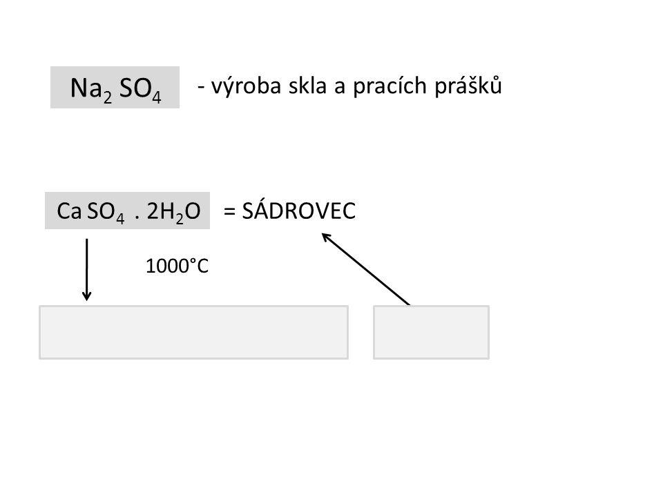 Na2 SO4 - výroba skla a pracích prášků Ca SO4 . 2H2O = SÁDROVEC