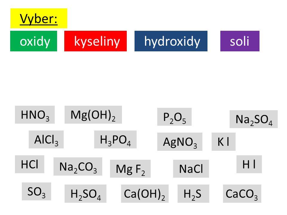 Vyber: oxidy kyseliny hydroxidy soli HNO3 Mg(OH)2 P2O5 Na2SO4 AlCl3