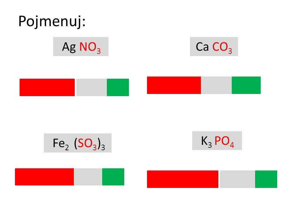 Pojmenuj: Ag NO3 Ca CO3 dusičnan stříbrný uhličitan vápenatý K3 PO4