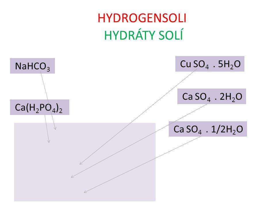 HYDROGENSOLI HYDRÁTY SOLÍ Cu SO4 . 5H2O NaHCO3 Ca SO4 . 2H2O