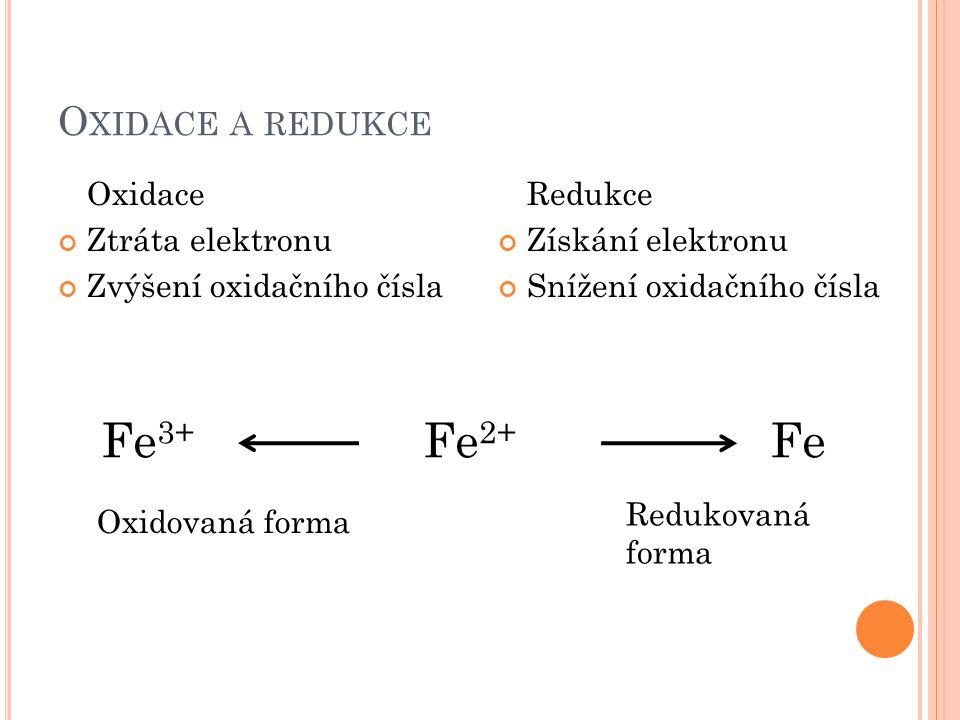 Fe3+ Fe2+ Fe Oxidace a redukce Oxidace Ztráta elektronu