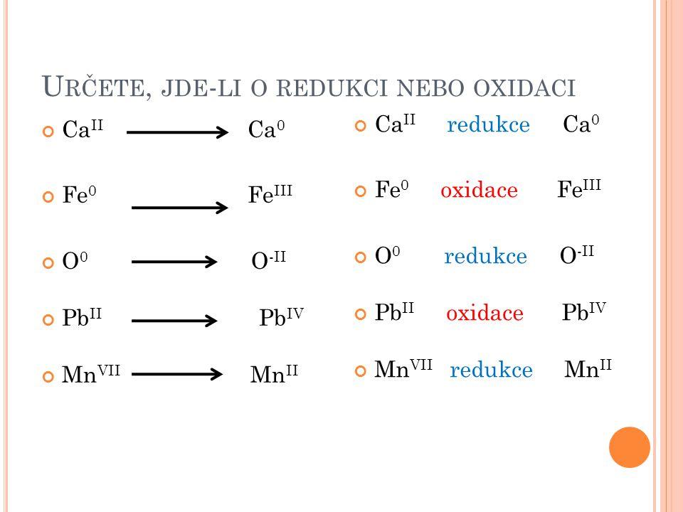 Určete, jde-li o redukci nebo oxidaci