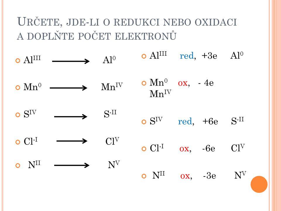 Určete, jde-li o redukci nebo oxidaci a doplňte počet elektronů
