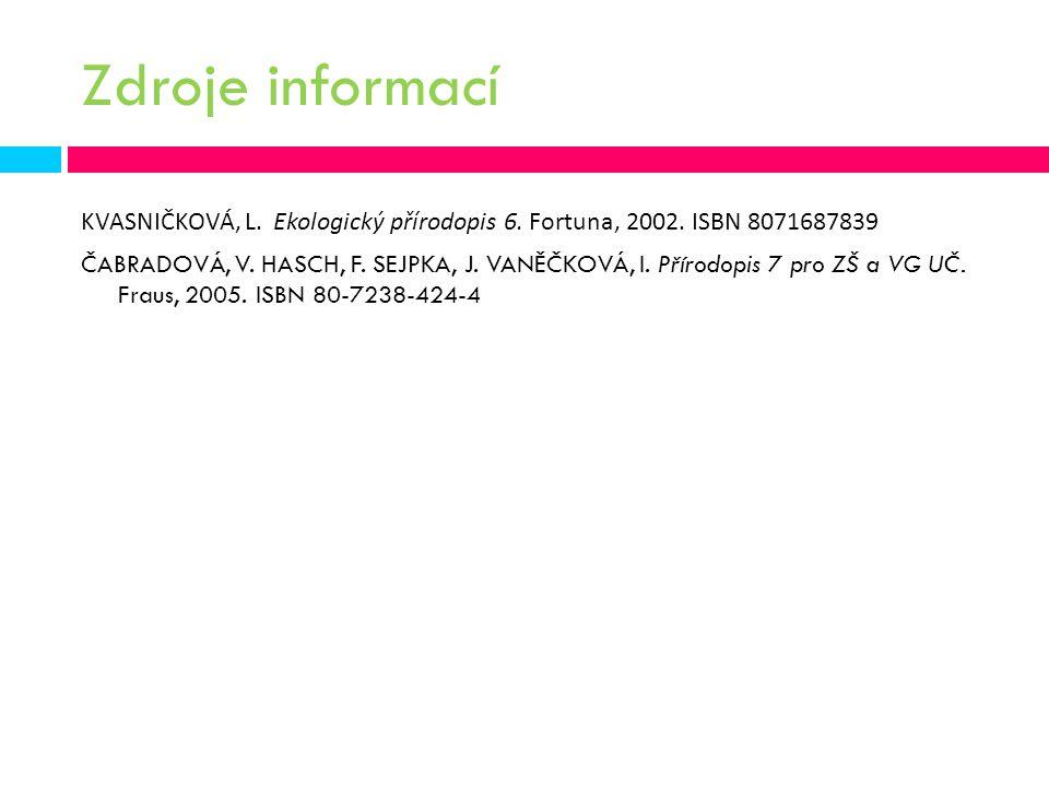 Zdroje informací KVASNIČKOVÁ, L. Ekologický přírodopis 6. Fortuna, 2002. ISBN 8071687839.