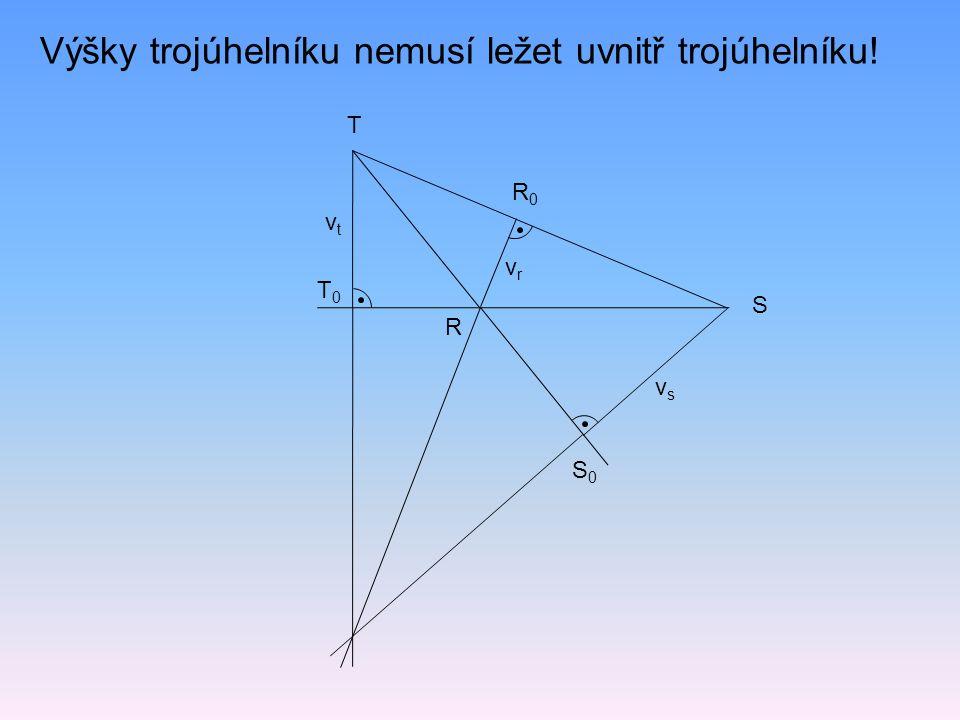 Výšky trojúhelníku nemusí ležet uvnitř trojúhelníku!