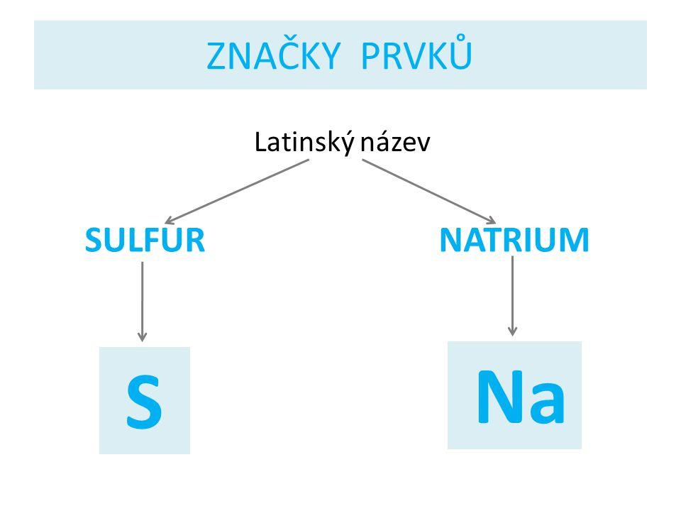 ZNAČKY PRVKŮ Latinský název SULFUR NATRIUM Na S