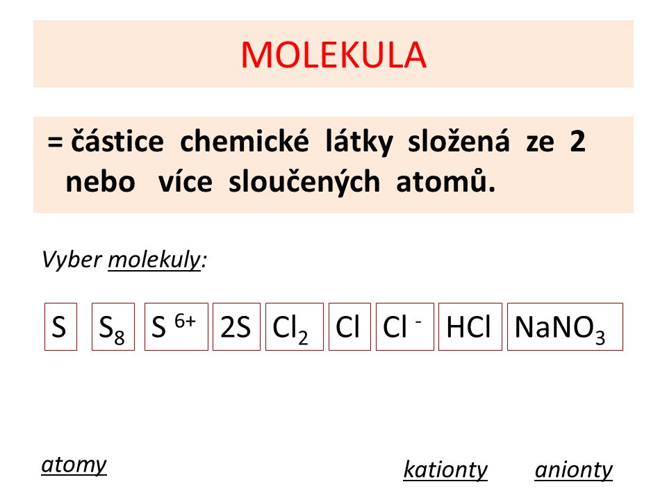 MOLEKULA S S8 S 6+ 2S Cl2 Cl Cl - HCl NaNO3