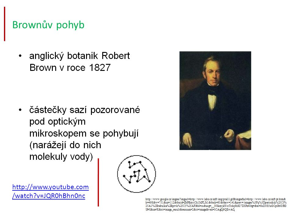 Brownův pohyb http://www.youtube.com/watch v=JQR0hBhn0nc