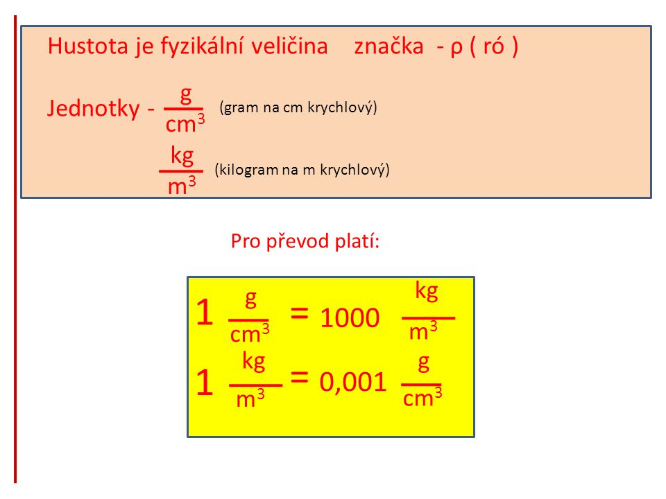 1 = 1000 0,001 Hustota je fyzikální veličina značka - ρ ( ró )