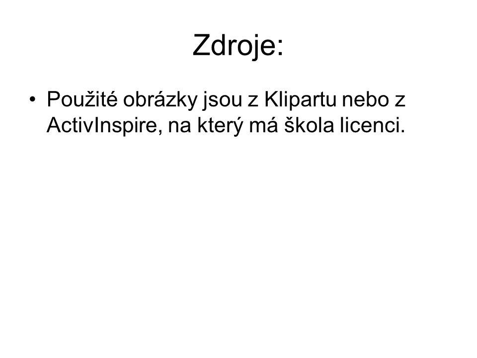 Zdroje: Použité obrázky jsou z Klipartu nebo z ActivInspire, na který má škola licenci.