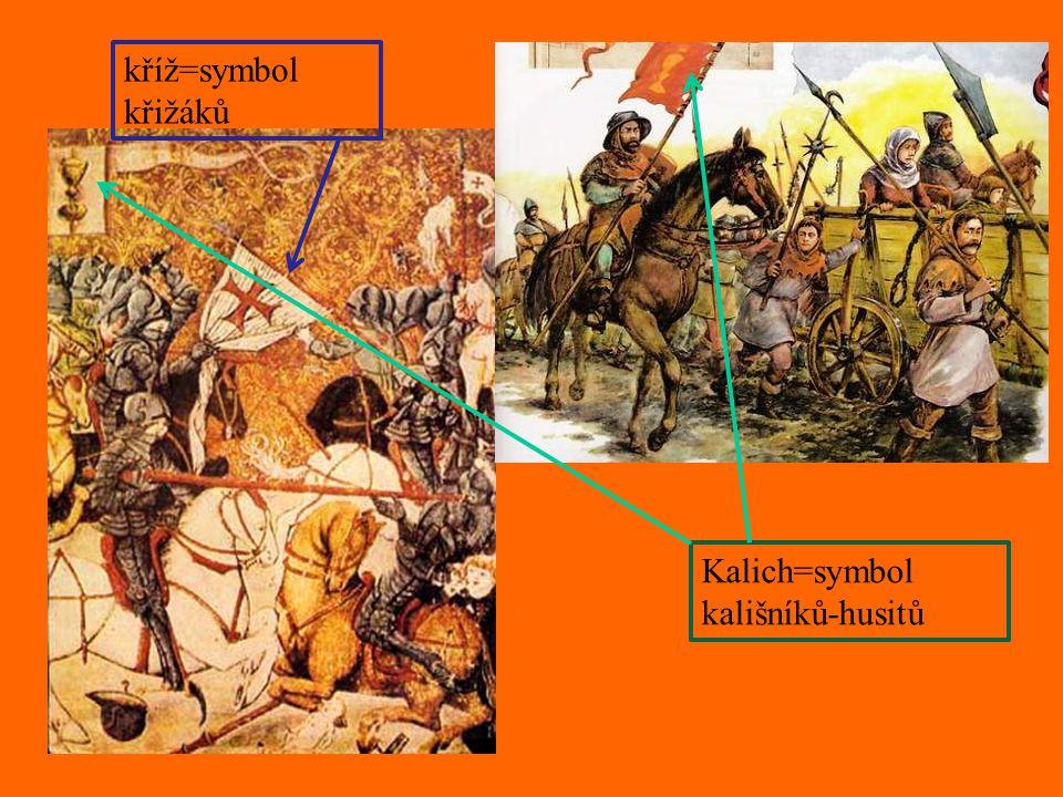 kříž=symbol křižáků Kalich=symbol kališníků-husitů