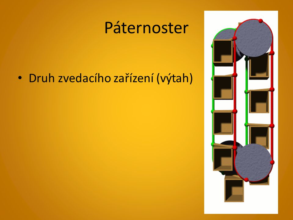 Páternoster Druh zvedacího zařízení (výtah)