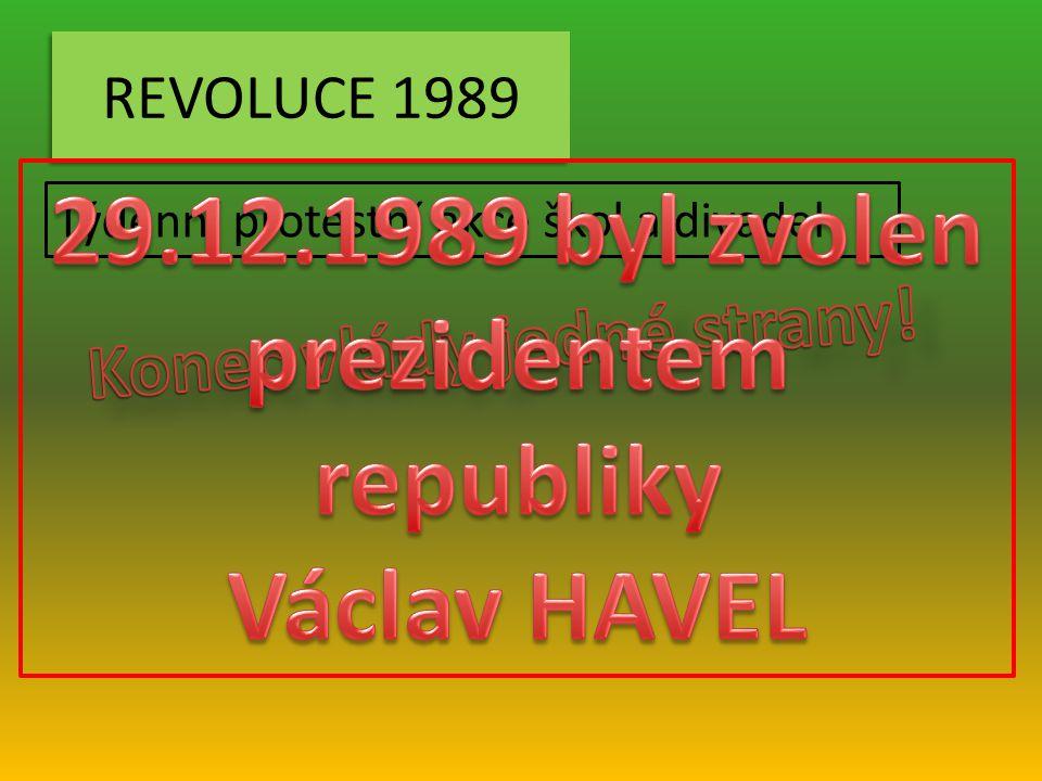29.12.1989 byl zvolen prezidentem republiky Konec vlády jedné strany!