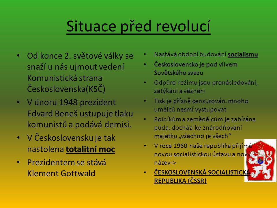 Situace před revolucí Od konce 2. světové války se snaží u nás ujmout vedení Komunistická strana Československa(KSČ)
