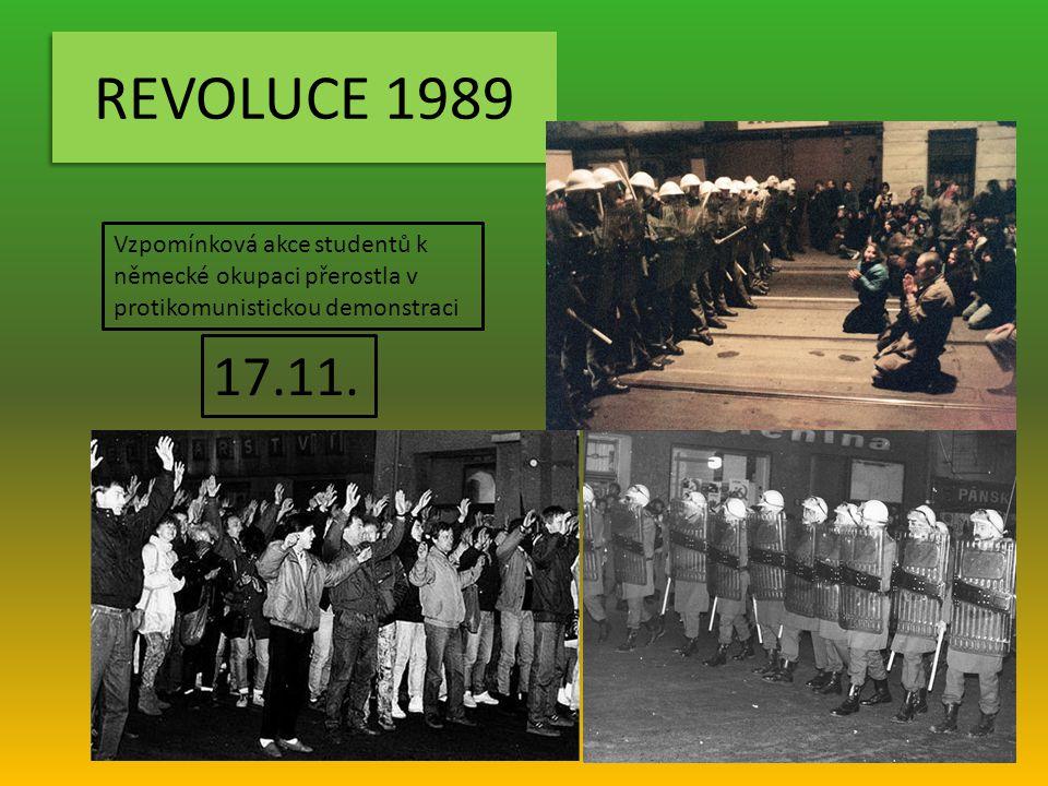 REVOLUCE 1989 Vzpomínková akce studentů k německé okupaci přerostla v protikomunistickou demonstraci.