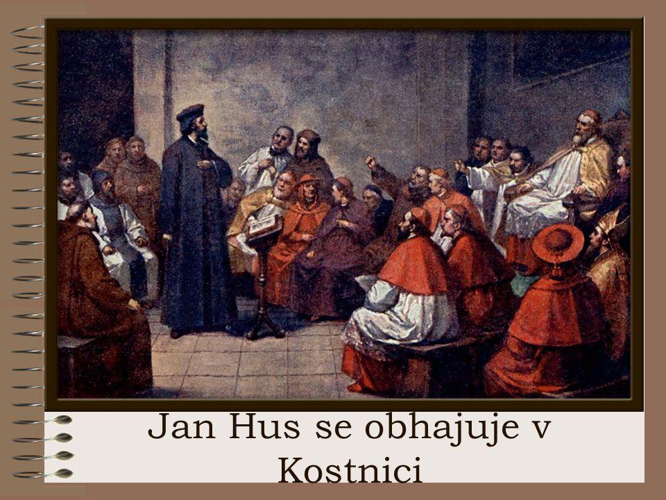 Jan Hus se obhajuje v Kostnici