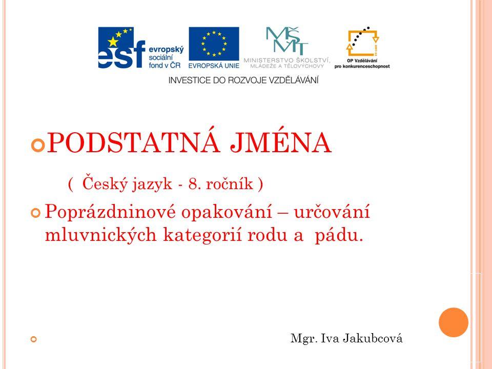 PODSTATNÁ JMÉNA ( Český jazyk - 8. ročník )