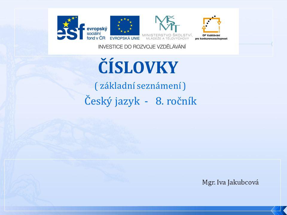 ČÍSLOVKY Český jazyk - 8. ročník ( základní seznámení )