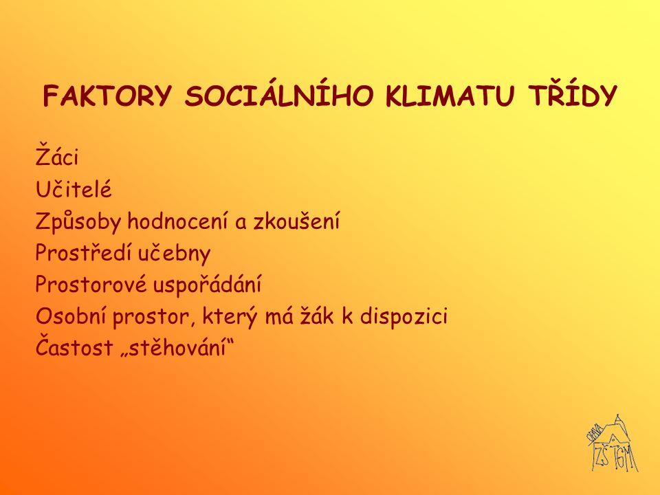 FAKTORY SOCIÁLNÍHO KLIMATU TŘÍDY