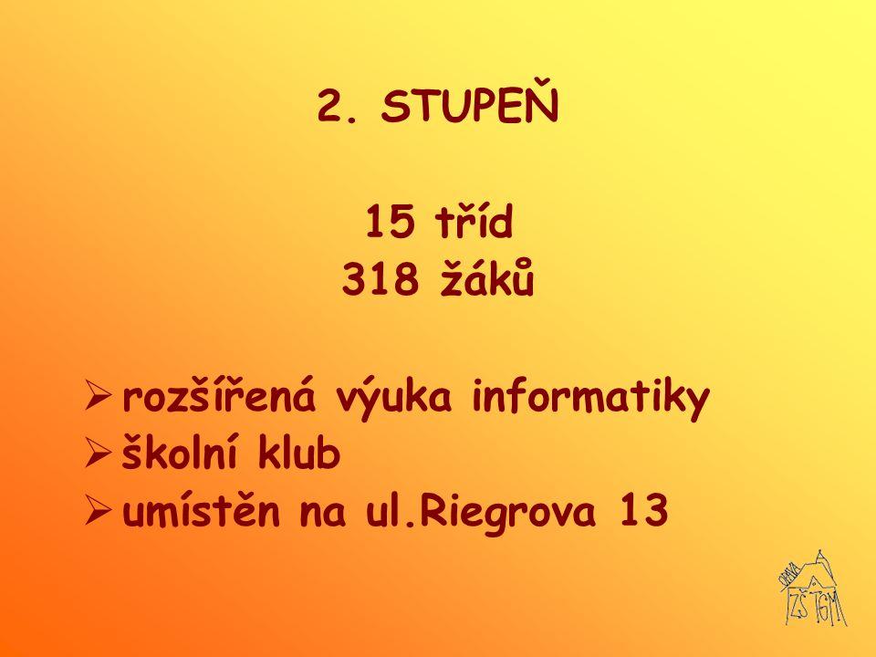 2. STUPEŇ 15 tříd 318 žáků rozšířená výuka informatiky školní klub umístěn na ul.Riegrova 13