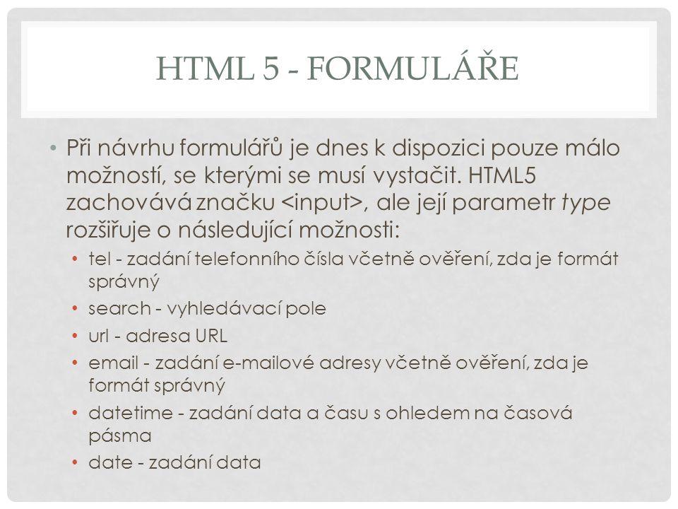 HTML 5 - formuláře