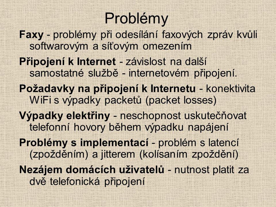 Problémy Faxy - problémy při odesílání faxových zpráv kvůli softwarovým a síťovým omezením.