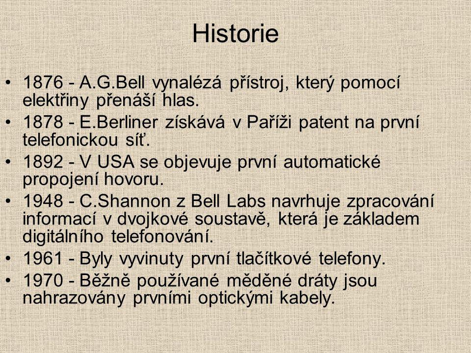 Historie 1876 - A.G.Bell vynalézá přístroj, který pomocí elektřiny přenáší hlas.