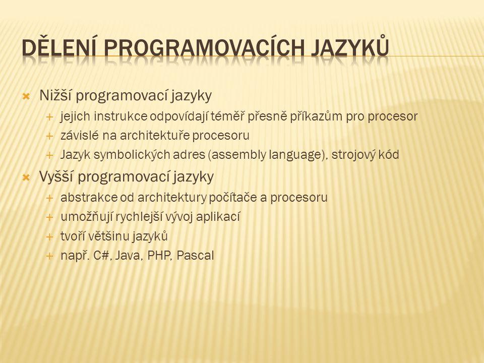 Dělení programovacích jazyků