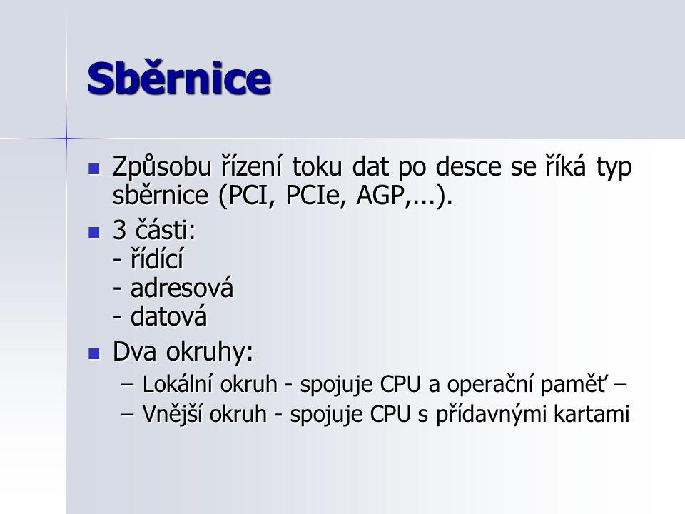 Sběrnice Způsobu řízení toku dat po desce se říká typ sběrnice (PCI, PCIe, AGP,...). 3 části: - řídící - adresová - datová.