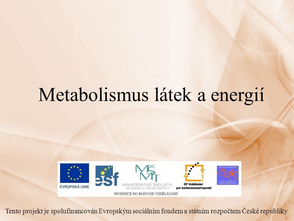 Metabolismus látek a energií