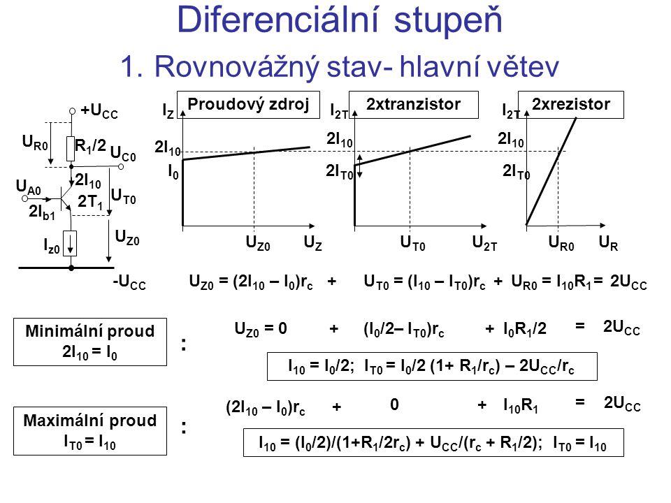 Diferenciální stupeň 1. Rovnovážný stav- hlavní větev