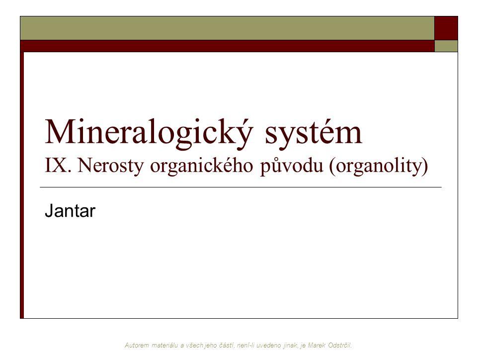 Mineralogický systém IX. Nerosty organického původu (organolity)