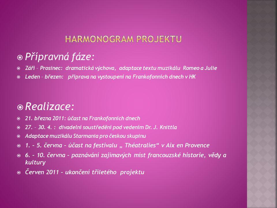 Realizace: Přípravná fáze: Harmonogram projektu