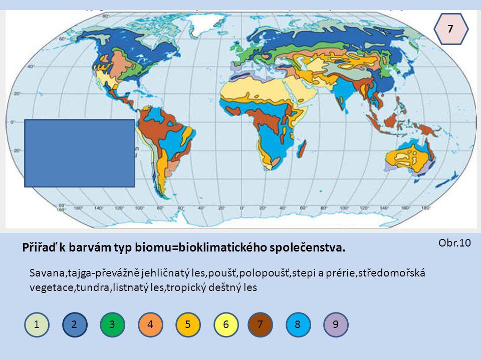 Přiřaď k barvám typ biomu=bioklimatického společenstva.