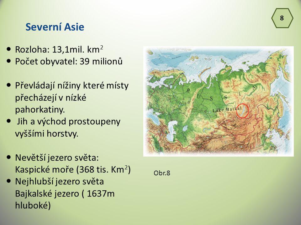 Severní Asie Rozloha: 13,1mil. km2 Počet obyvatel: 39 milionů