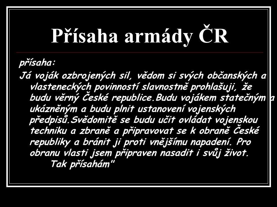Přísaha armády ČR přísaha: