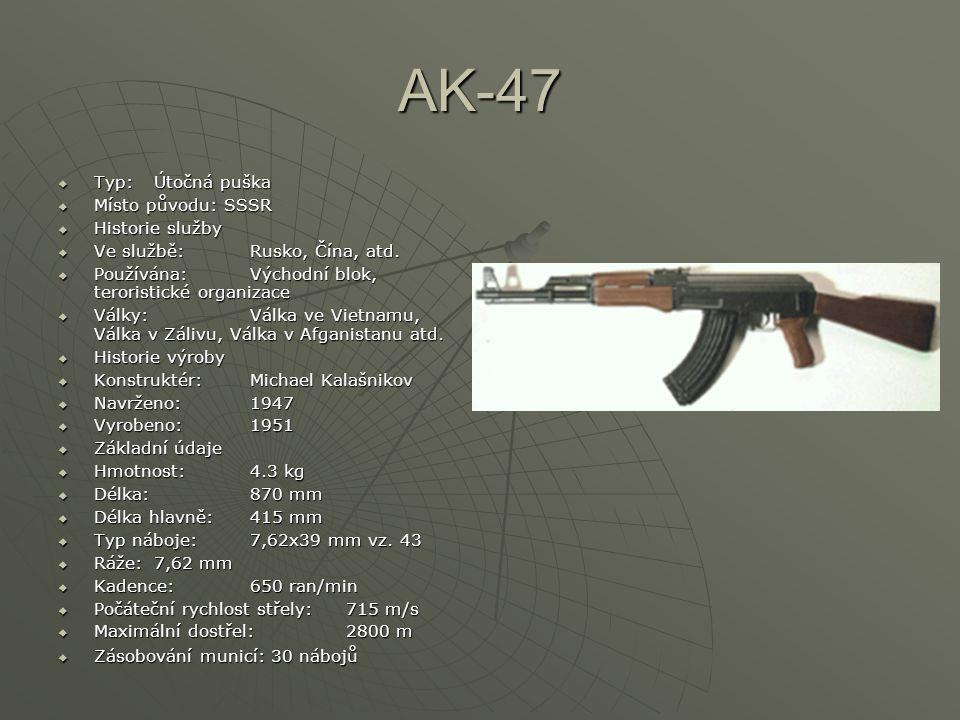 AK-47 Typ: Útočná puška Místo původu: SSSR Historie služby