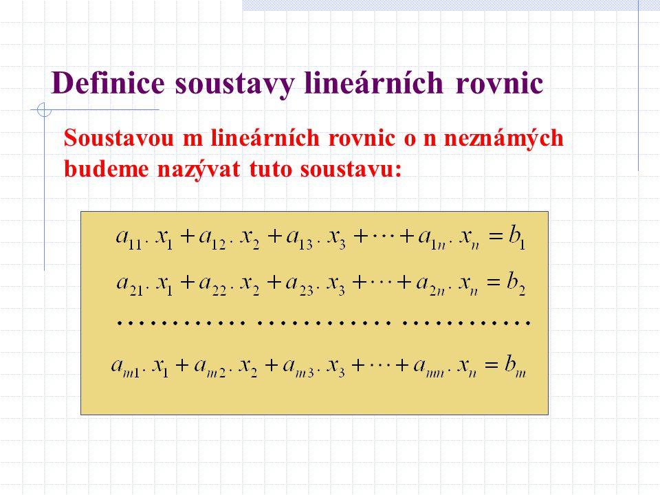 Definice soustavy lineárních rovnic