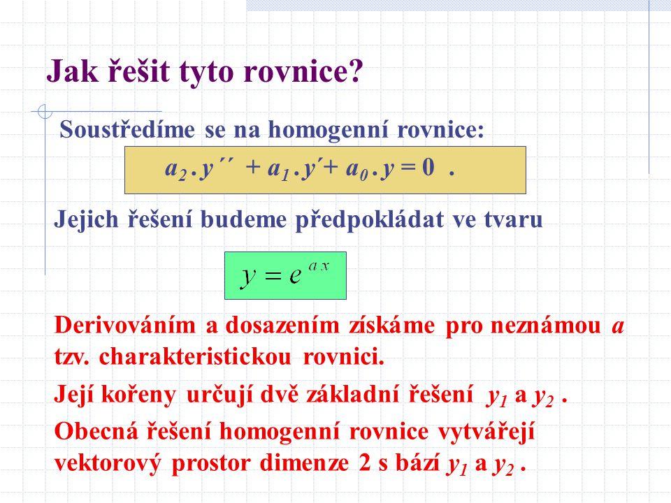 Jak řešit tyto rovnice Soustředíme se na homogenní rovnice: