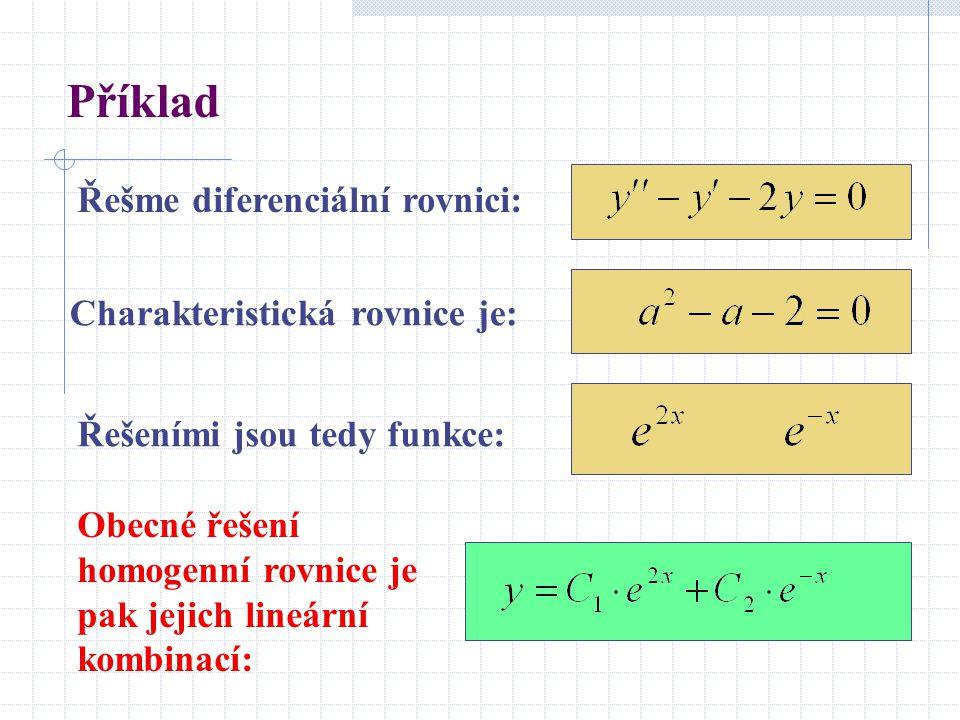 Příklad Řešme diferenciální rovnici: Charakteristická rovnice je: